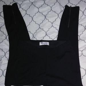 Black zipper bottom leggings NWOT sz M